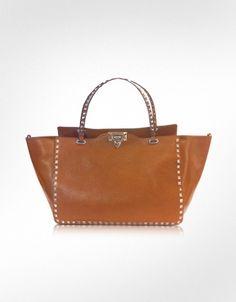 Valentino Garavani Medium Rockstud Brown Calf Leather Tote
