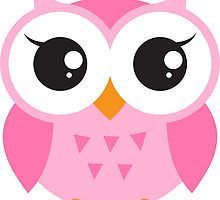 Cute, pink baby owl sticker by MheaDesign
