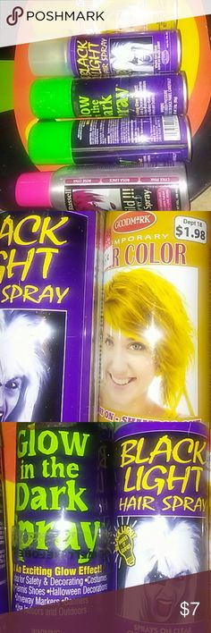 Halloween Hair Sprays Costume hair sprays. Glow in the dark spray- 1 full and 1 very minimal can. Mellow Yellow- 1 full can. Black light spray- 3/4 can. Red- very minimal amt left. But enuf to use once. Jerome Russell Accessories Hair Accessories