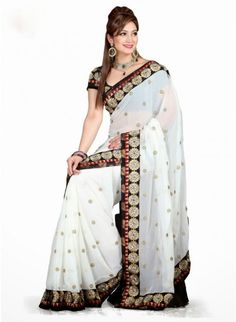 Alluring Off White Chiffon Based Embroidered #Saree