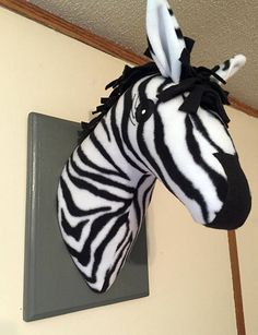 Stuffed Zebra Head / Zebra decor / Faux taxidermy / Christmas