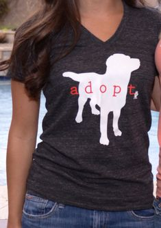 EcoHeather 'Adopt' Vneck Tshirt Charcoal by TheLovingPaw. Enter RESCUE for 10% off!