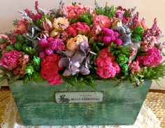 Dried Flower Arrangement, Dried Floral Arrangement, Basket Arrangement, Spring Centerpiece, Spring Decor, Mother's Day Gift