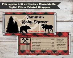 Lumberjack Candy Bar Wrappers, Lumberjack Baby Shower, Lumberjack Party, Lumber Jack Party Favors, Digital or Printed Candy Bar Wrappers by PartiesR4Fun on Etsy