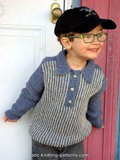 ABC Knitting Patterns - Trendsetter Boy's Sporty Brioche Sweater