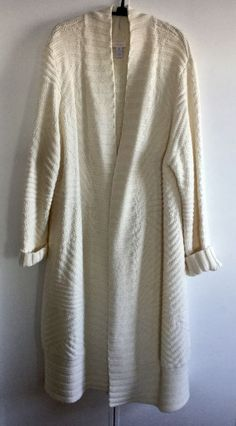 CHICOS SZ 3 IVORY LONG OPEN CARDIGAN SWEATER/DUSTER/COAT, GORGEOUS! EUC #Chicos #Cardiganduster #Alloccasion