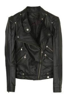Black High Neck Long Sleeve Zipper Buttons PU Coat - Sheinside.com