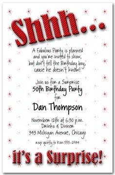 Surprize Party Invitations for good invitations ideas