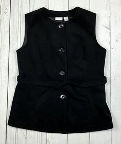 Chico's womens 1 M black sleeveless button down waist tie fleece like vest #Chicos #vest