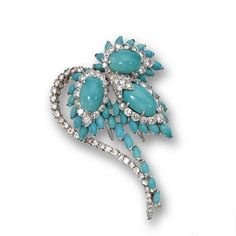 Turquoise and diamond brooch, David Webb The stylized flower set with 3 oval turquoise cabochons and numerous smaller navette-shaped turquoise cabochons, accented with a total of 91 round diamonds weighing approximately 6.50 carats, mounted in platinum and 18 karat white gold, signed David Webb and Webb.
