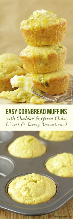 A quick and easy recipe for cornbread muffins using a simple homemade cornbread mix with yummy add-ins like shredded cheddar cheese and fire-roasted green chiles. The batter takes about five minutes to whip together and only 15-20 minutes to bake in the oven. Also includes options for sweet and savory variations! #frugal #sponsored #diy