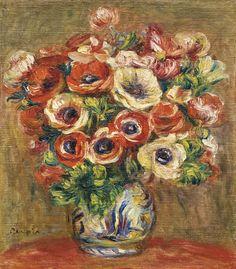 'Anémones dans un vase' (ca.1915) by Pierre-Auguste Renoir