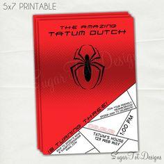 Spiderman Party Invitation, Spider Man Birthday Theme Invitation - Printable. $12.00, via Etsy.
