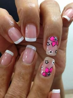 Uñas frances blanco y flores fucsia Gel French Manicure, French Nail Art, Green Nail Designs, Nail Art Designs, Pink Nail Colors, Bright Nails, Flower Nail Art, Green Nails, Stylish Nails