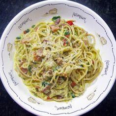 Bacon Carbonara... Pasta with an egg sauce!  Easy as cracking an egg!