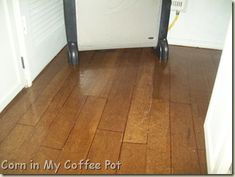 {Corn in My Coffee Pot} Brown Paper Bag Floor Technique in strips to look like wood planks over vinyl flooring. Guest Bath? I could use Minwax's Driftwood Stain color for a more beach feel and to match the gray....