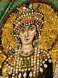 Byzantine. Empress Theodora. 500 AD-548 AD. Wife of Emperor Justinian. The Byzantine era was not one of makeup but it was heavily decorated with lots of jewelry. The more wealthy you were, the more jewelry you wore on a daily basis.
