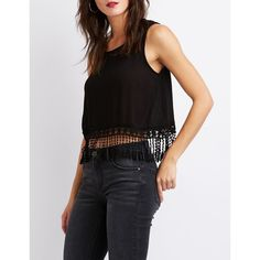 Charlotte Russe Fringe-Detailed Crop Top ($20) ❤ liked on Polyvore featuring tops, black, sleeveless tops, no sleeve tops, scoopneck top, crochet tops and scoop neck crop top