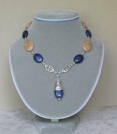 Lapis Lazuli and Peach Malay Jade Pendant Necklace by Karenda, $38.00