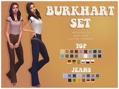 "smubuh: "" ♡BURKHART SET♡ I love That 70′s Show, it's actually where we got the name idea for our puppy Mila! This top and bottom are inspired by the show. The set comes with a top and some flared jeans. Both have solid swatches and the top has some..."