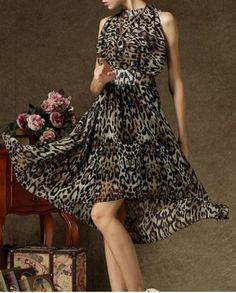 Elegant Stand Collar Leopard Print Sleeveless High-Low Chiffon Dress For Women