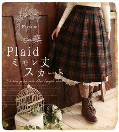 Japanese-Mori-Girl-Tartan-Plaid-Skirt-Sweet-Lolita-Woolen-Skirts-Preppy-Style