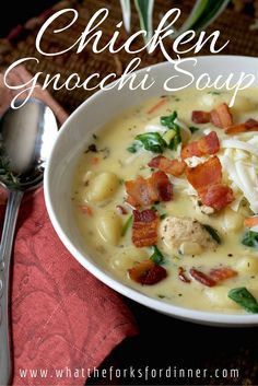 Happiness is hot soup on a cold and rainy day……. This soup will warm you to your very center. Creamy, with chunks of chicken, veggies, and gnocchi. What is gnocchi you ask? Gnocchi are Italian dumplings made with potatoes. Soup Recipes, Chicken Recipes, Cooking Recipes, Easy Recipes, Italian Spices, Italian Foods, Chicken Gnocchi Soup, Hot Soup, Tips & Tricks