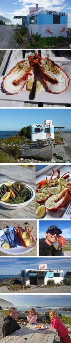 The iconic Nin's Bin, selling crayfish from an old caravan - Kaikoura, New Zealand