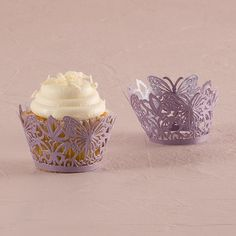 Butterfly Filigree Paper Cupcake Wrappers - These beautifully crafted cupcake wrappers feature lacy butterflies. An easy way to add style to your wedding cupcakes. From Weddingstar.