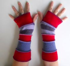 Recycled Sweater Red Hat Ladies Fingerless Gloves by ThankfulRose, $24.00