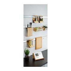 IKEA - RIMFORSA, Rail, You can free up space on your worktop by hanging accessories on the rail. Interior Design Kitchen, Interior Design Living Room, Living Room Decor, Kitchen Decor, Bedroom Decor, Swedish House, Quality Furniture, Home Remodeling, Tall Cabinet Storage