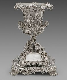A Victorian Presentation Vase and Mirror Plateau by Hunt & Roskell, London.
