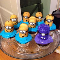 My version of minion cupcakes. Minion Cupcakes, Love Cupcakes, Cupcake Cakes, Cup Cakes, Minion Birthday, Boy Birthday Parties, Birthday Fun, Birthday Ideas, Despicable Me Party