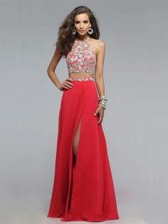 A-Line/Princess Halter Chiffon Applique Sleeveless Floor-Length Two Piece Dresses