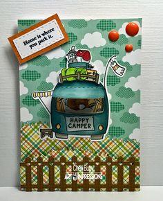 "Art Impressions ""Happy Camper"" Mini Tryfold set by CheriB Designs"
