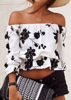 Flower Print White Off The Shoulder Blouse