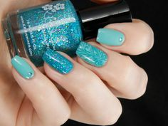 Teal Skittle ~ base polish Essie 'Where's My Chauffeur?', middle finger stamped with image from Konad Square Plate 01 using Gina Tricot 'Petrol', ring finger KBShimmer 'She Twerks Out' and silver gems to finish ~ by Better Nail Day