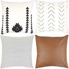 Woven Nook Decorative Throw Pillow Covers Pack of 4 for Couch, Sofa, or Bed Set Cotton Stripes Geometric Faux Leather Amaro Set, Boho Style, Mid Century Style Leather Throw Pillows, Old Pillows, Leather Pillow, Cute Pillows, Boho Throw Pillows, Brown Couch Throw Pillows, Wash Pillows, Pink Pillows, Decor Pillows