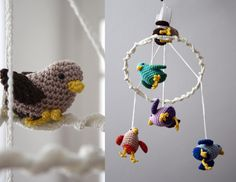 Crochet pattern for Baby bird mobile with musicbox by SquarepigCrochet on Etsy https://www.etsy.com/uk/listing/252596904/crochet-pattern-for-baby-bird-mobile