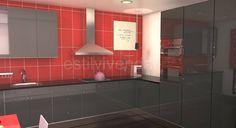 Diseño cocina de mobiliario negro sobre revestimiento de pared rojo y campana decorativa en acero inox. #Reformas cocinas Kitchen Cabinets, Design, Home Decor, Decorative Bells, Kitchen Hoods, Kitchens, Houses, Steel, Home