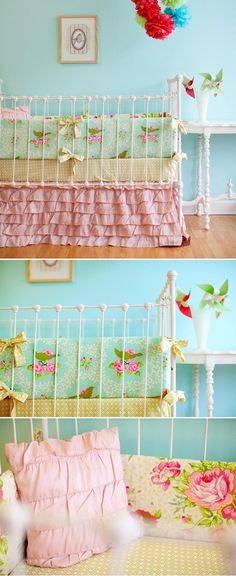 sweet cottage style baby room - I love these colors greens, pinks, blues, and yellows!