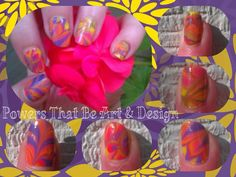 Powers That Be Art And Design, Nail Art, Done by hand, neon, tye dye
