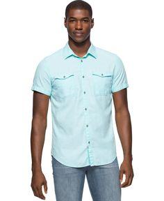 Calvin Klein Jeans Men's Herringbone Slub Short-Sleeve Utility Shirt
