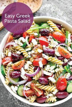 Savor all the fresh veggies that summer has to offer with this easy Greek pasta salad recipe. Creamy feta cheese, ripe tomatoes, crunchy cucumbers, and salty olives come together to create a satisfying dinner dish that's sure to be a crowd pleaser. Try replacing the vinaigrette with a homemade salad dressing to keep this recipe bladder friendly.