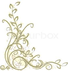 Pink and green floral scrolling composed in a corner decorative border