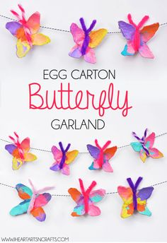 Egg Carton Butterfly Garland – I Heart Arts n Crafts - Recycled Crafts Kids 2020 Bug Crafts, Arts And Crafts Projects, Preschool Crafts, Preschool Classroom, Neon Crafts, Easter Crafts For Kids, Toddler Crafts, Diy For Kids, Craft Kids