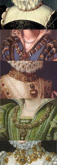 Carcanet or carcan is a jeweled collar or necklace, from the old French, carcan, meaning collar. Carcanets were typically quite elaborate and formal, and worn closely fitted. Mode Renaissance, Costume Renaissance, Elizabethan Costume, Elizabethan Fashion, Tudor Fashion, Elizabethan Era, Renaissance Jewelry, Medieval Jewelry, Medieval Costume