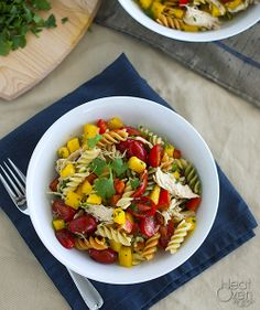 Cilantro-Lime Pasta Salad. An easy, healthy pasta salad with plenty of veggies, chicken, and a sweet-tangy cilantro-lime dressing.