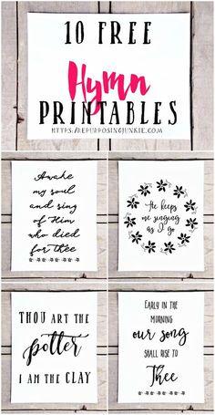 10 Free Hymn Printables, Free Printables, Hymn Printables, Easy Wall Decor, Prints, Wall Art, Inspirational, Free printables for the home