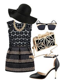 Black High Waist Rivet Striped Skirt #choies #skirt #black #fashion